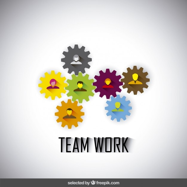 Teamwork illustration made with gears and\ avatars