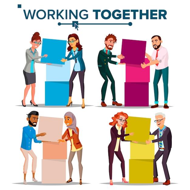 Teamwork illustration set Premium Vector