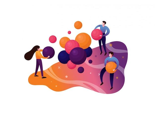 Teamwork illustration Premium Vector