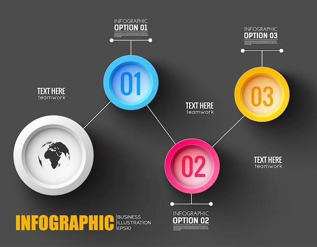 Инфографический макет совместной работы с силуэтом карты мира и пронумерованными кнопками, соединенными белыми линиями Бесплатные векторы