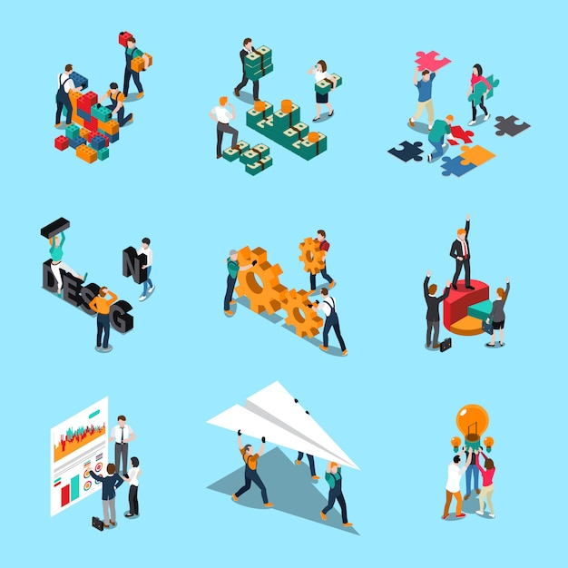 Teamwork isometric icons set with collaboration ideas and creativity symbols isolated illustration Free Vector