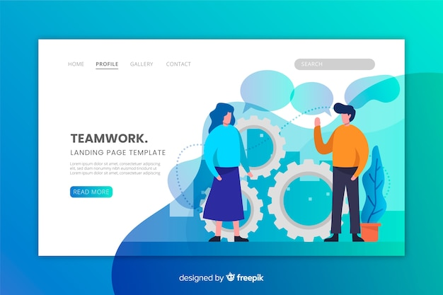 Teamwork landing page in flat design Free Vector