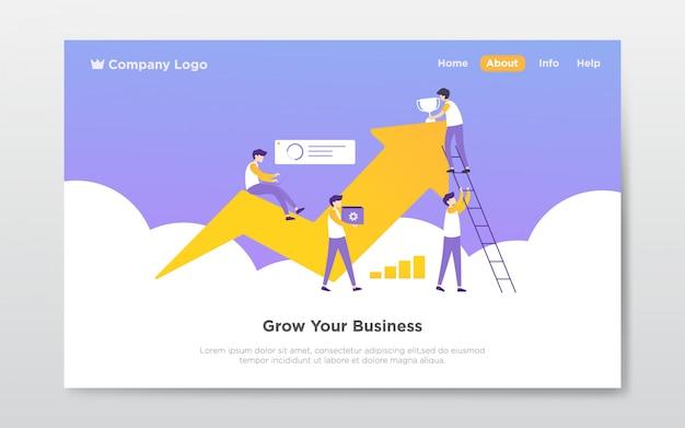 Teamwork landing page illustration Premium Vector