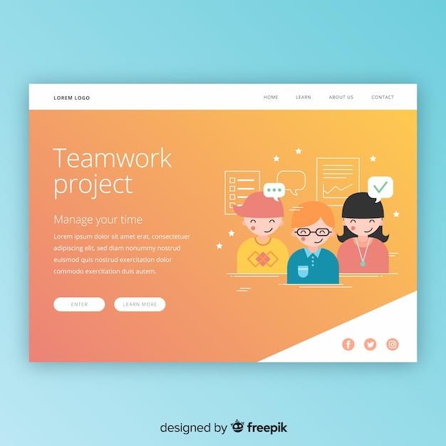 Teamwork landing page template Free Vector