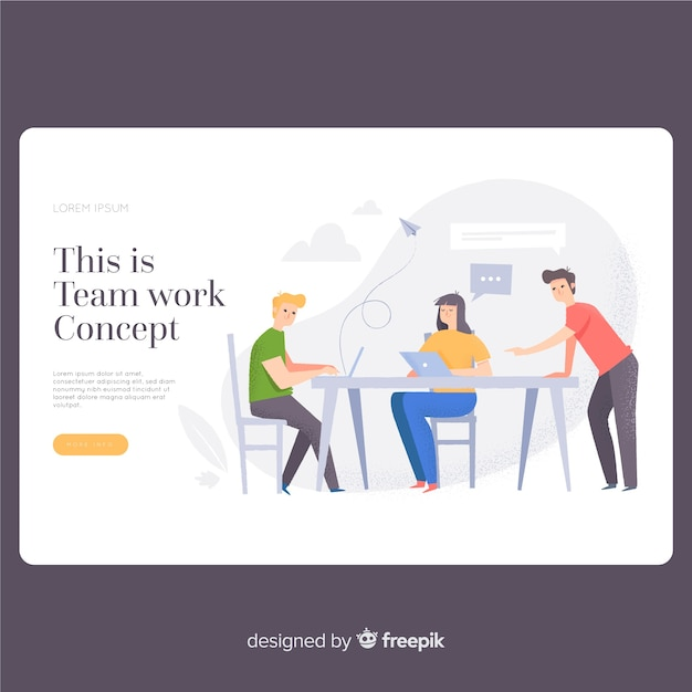 Teamwork landing page template Free Vector