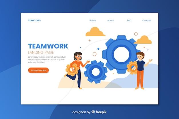 Teamwork landing page web template Free Vector