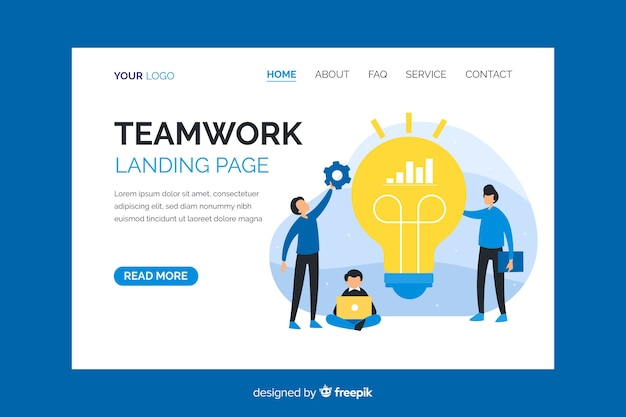 Teamwork landing page with characters co-working Free Vector