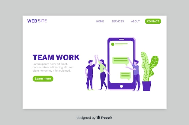 Teamwork landing page with colorful flat design phone and characters Free Vector