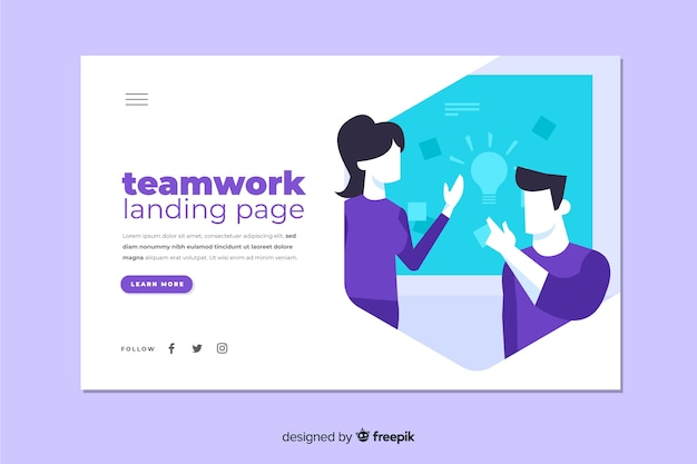 Teamwork landing page with coworkers discussing Free Vector