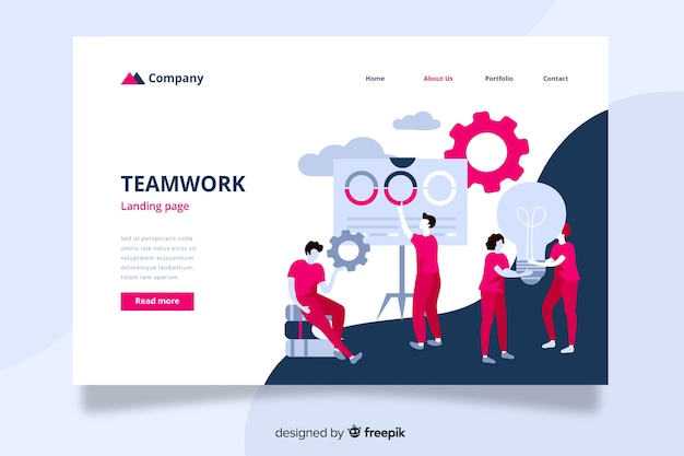 Teamwork landing page with coworkers helping each other Free Vector