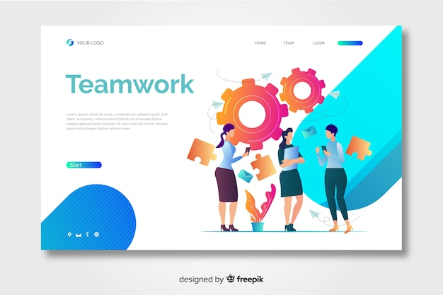 Teamwork landing page with female coworkers Free Vector