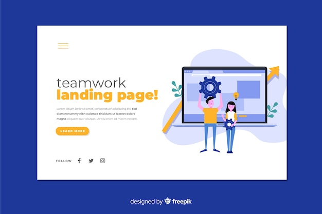 Teamwork landing page with flat design laptop and characters Free Vector