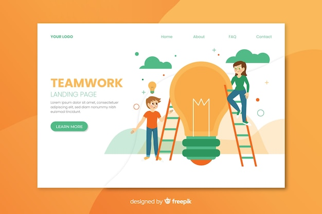 Teamwork landing page with flat design Free Vector