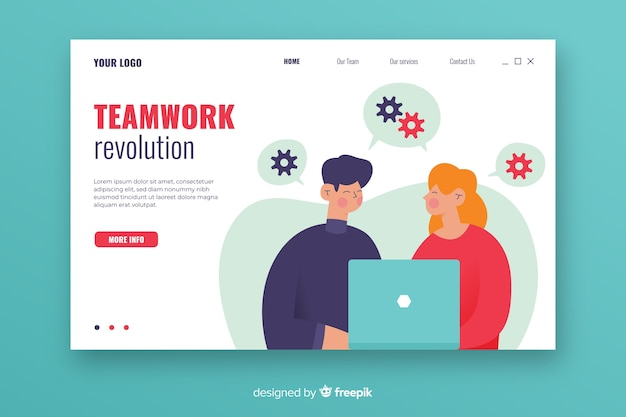 Teamwork landing page with illustrated characters Free Vector
