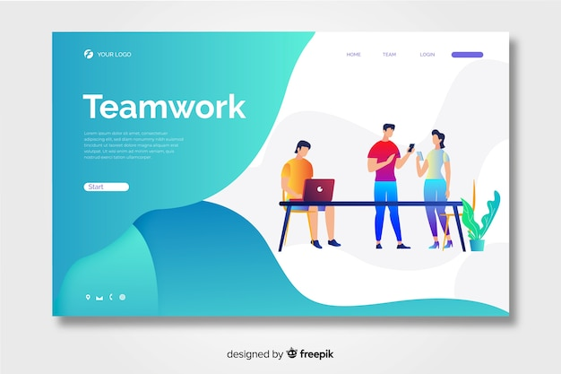 Teamwork landing page with liquid shapes Premium Vector