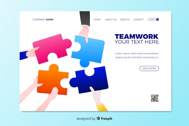 Teamwork landing page with puzzle Free Vector