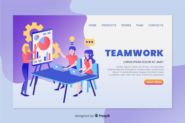Teamwork landing page Free Vector