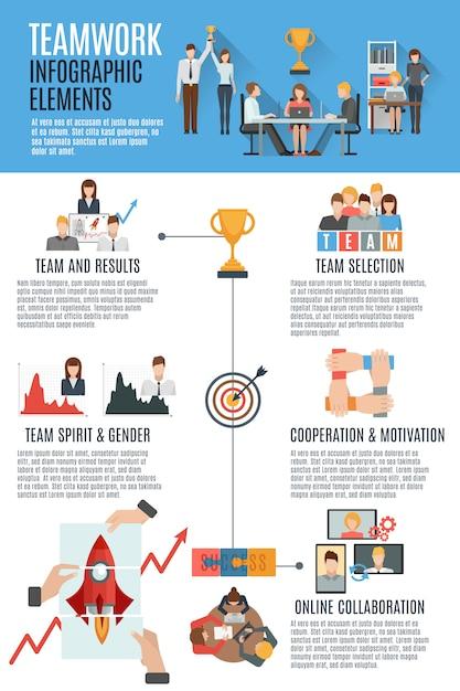 Teamwork management infographic banner Free Vector