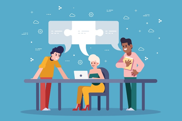 Teamwork people creating ideas at the office Free Vector