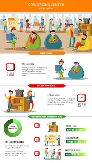 Коллективная работа людей инфографики концепция с фрилансерами Бесплатные векторы