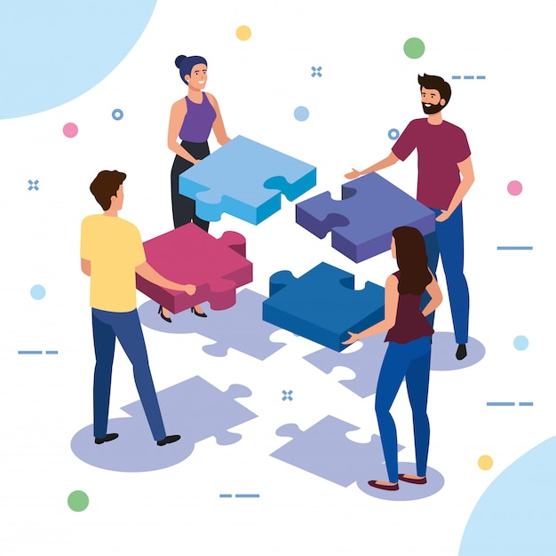 Teamwork people with puzzle pieces Free Vector