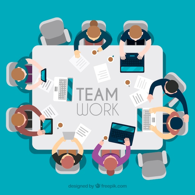 Teamwork, square table Free Vector
