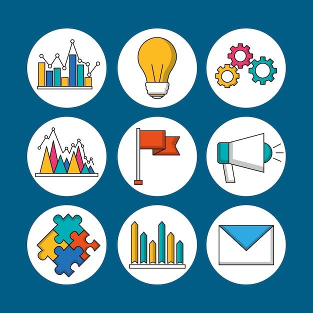 Teamwork stickers message megaphone puzzle bulb email idea Premium Vector