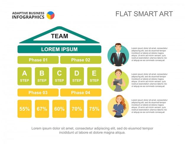 Teamwork strategy process chart template for\ presentation.