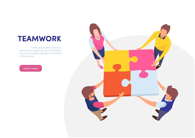 Teamwork successful together concept. Premium Vector