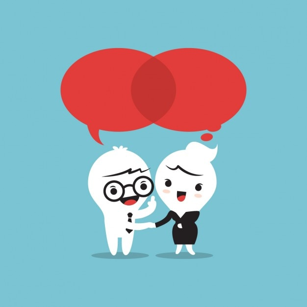 Teamwork talking with speech bubbles Free Vector