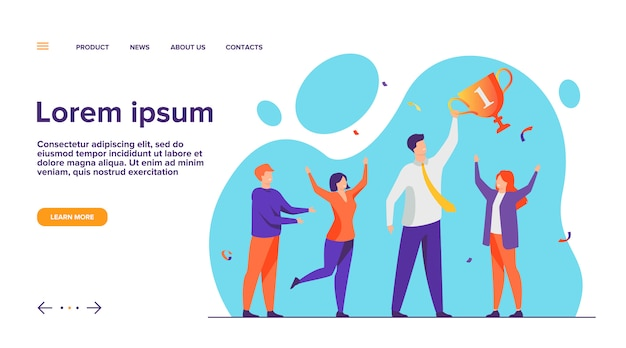 Teamwork and team success concept  landing page Free Vector