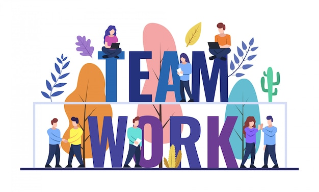 Teamwork web banner design Premium Vector