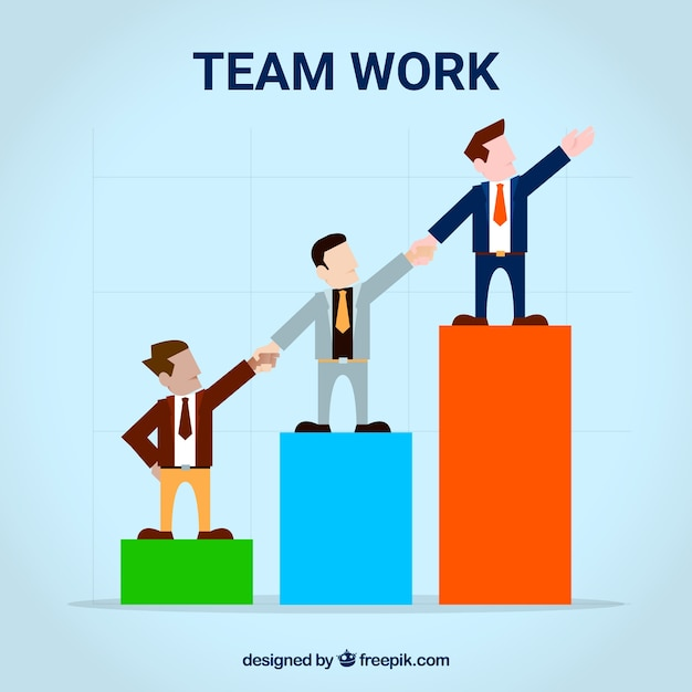 Teamwork with businessmen and graphic