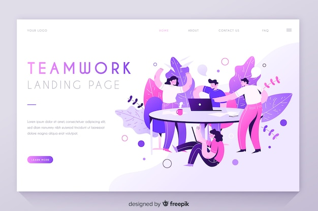 Teamwork with people at the table landing page Free Vector
