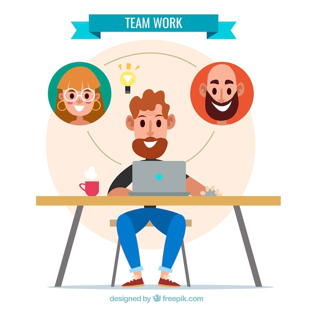 Teamwork with smiley partners