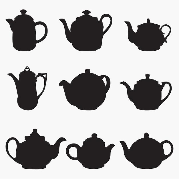 Teapot 1 silhouettes Premium Vector