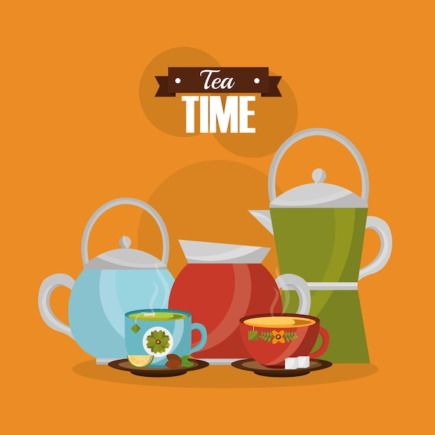 Teapot and coffee maker with cups flower decoration Premium Vector
