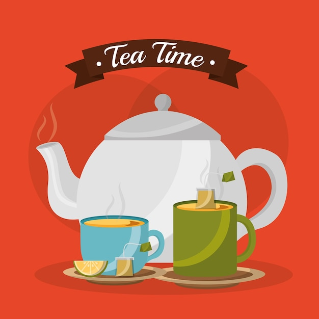 Teapot and cups hot beverages with lemon Premium Vector