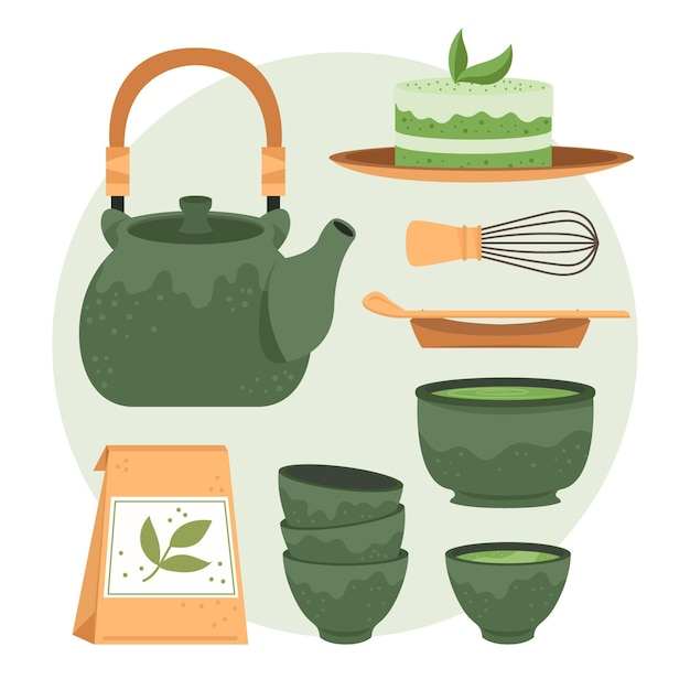 Teapot and cups of japanese tea set Free Vector