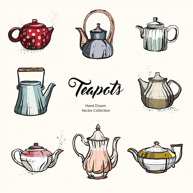 Teapot hand drawn ink vector illustration set old style. Premium Vector