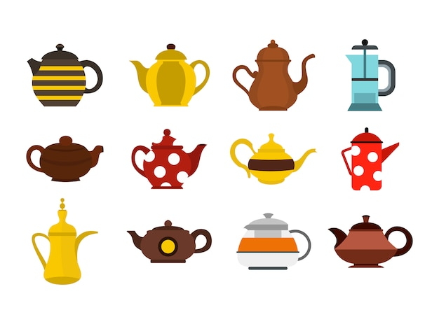 Teapot icon set. flat set of teapot vector icons collection isolated Premium Vector