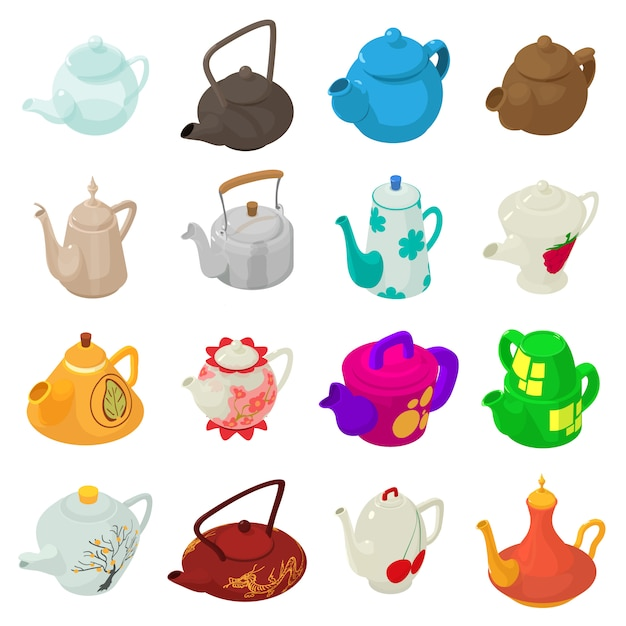 Teapot sport icons set. isometric illustration of 16 teapot vector icons for web Premium Vector