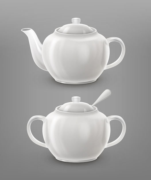 Teapot and sugar bowl white color Free Vector