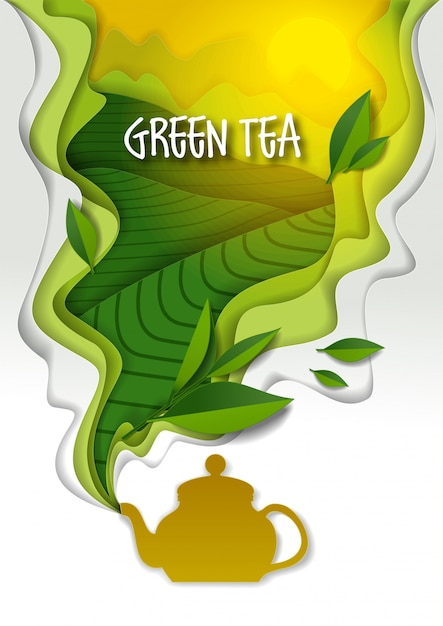 Teapot with aromatic green tea paper art Premium Vector