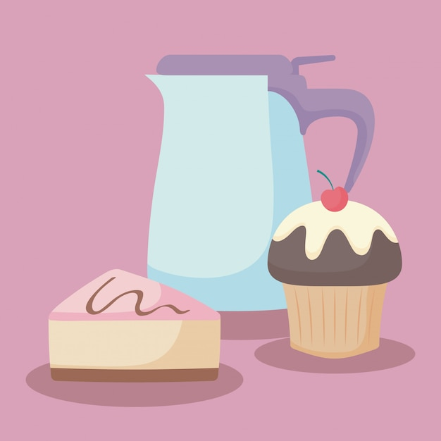 Teapot with sweet cake portion Premium Vector