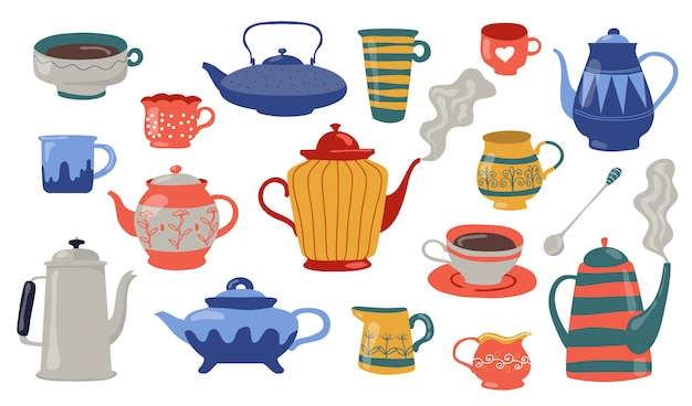 Teapots and cups flat icon set Free Vector