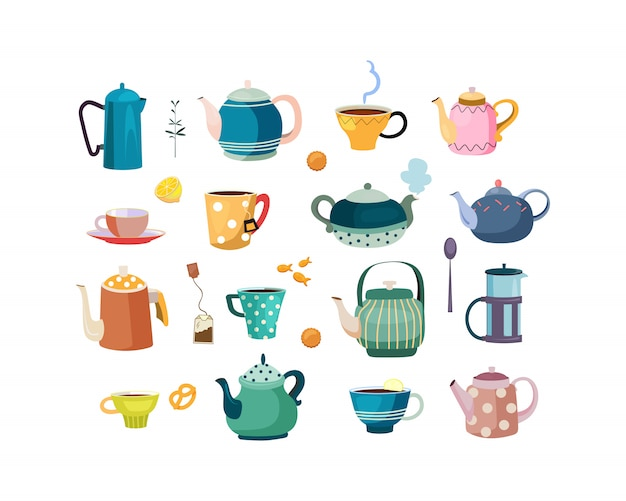 Teapots and cups set Free Vector