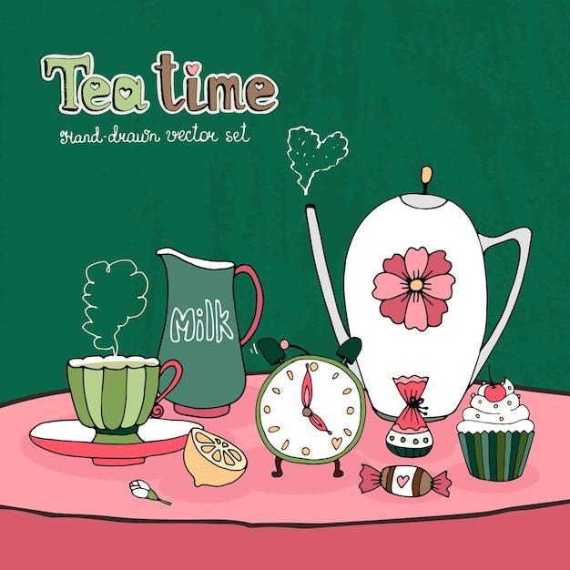 Карточка чаепития или дизайн приглашения с чайником Бесплатные векторы