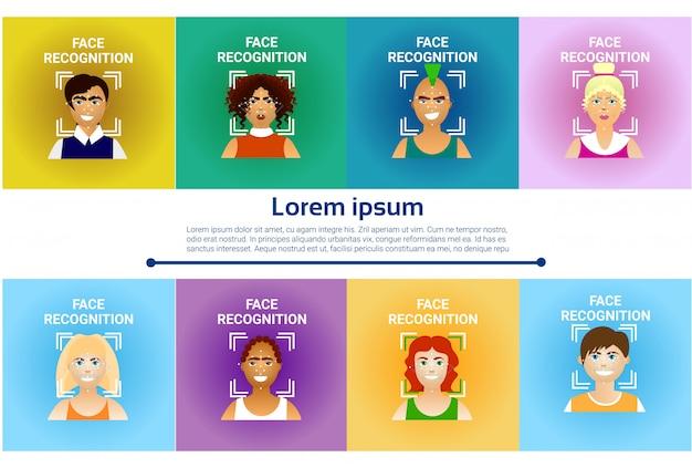 Набор иконок распознавания лиц, биометрическое сканирование мужчин и женщин пользователей современной идентификации tec Premium векторы