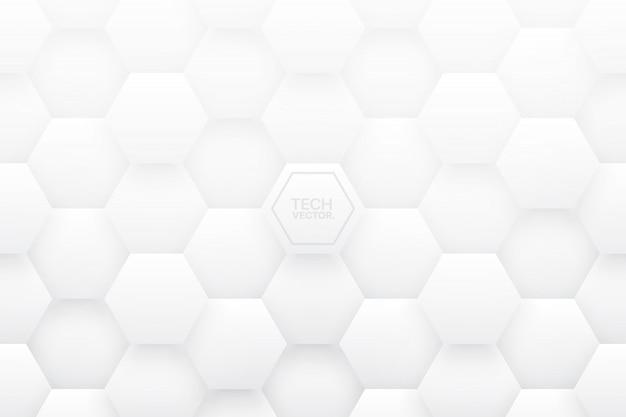 Tech 3d hexagons белый абстрактный фон Premium векторы
